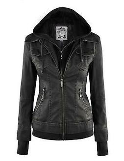 Johnny Women's Faux Leather Jacket with Hoodie