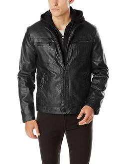 Kenneth Cole REACTION Men's Marble Faux-Leather Moto Jacket