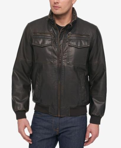 310 men brown faux leather flight bomber