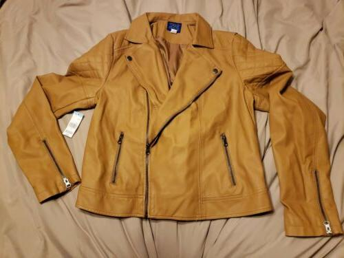 60tag women s faux leather moto jacket