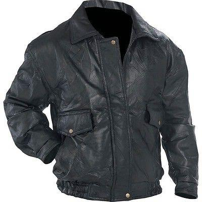 New Mens Black Genuine Leather BOMBER JACKET Flight Coat Mot