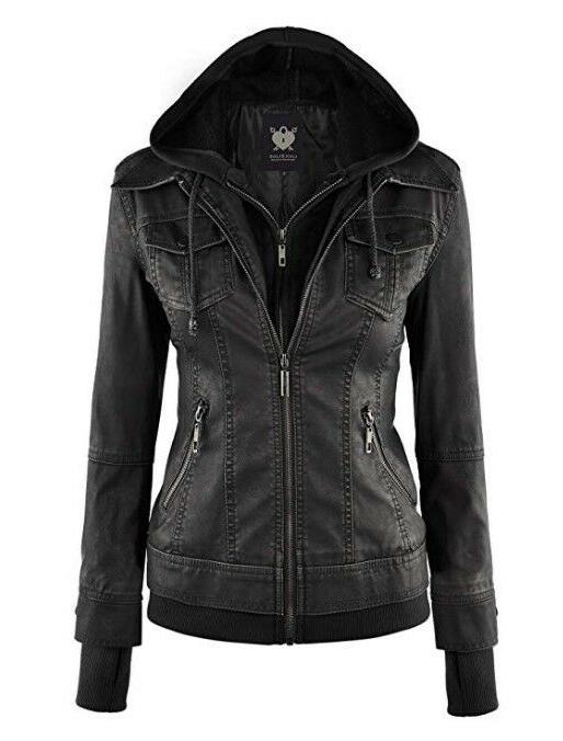 Womens Hooded Faux leather Jacket with Hood, Black, Size XL: