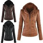 Womens Leather Hooded Jacket Slim Parka Coat Overcoat Trench
