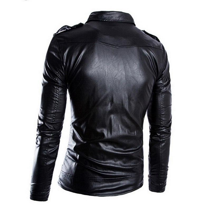 HEFLASHOR Autumn Winter Motorcycle <font><b>Leather</b></font> <font><b>Moto</b></font> Zipper <font><b>Leather</b></font> Coat