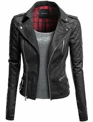Awesome21 Women's Motorcycle Biker Faux Leather Jackets