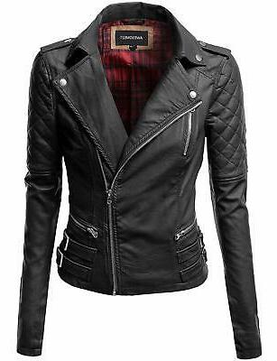 awesome21 women s zipper motorcycle biker faux