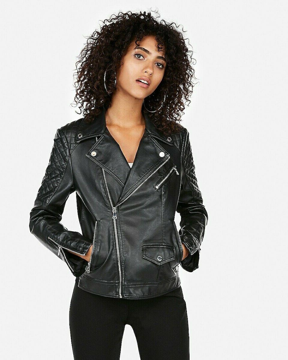 black minus the leather quilted moto jacket