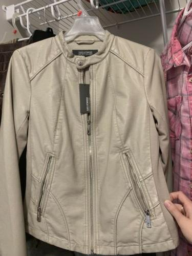 brand new womens ivory faux leather zip