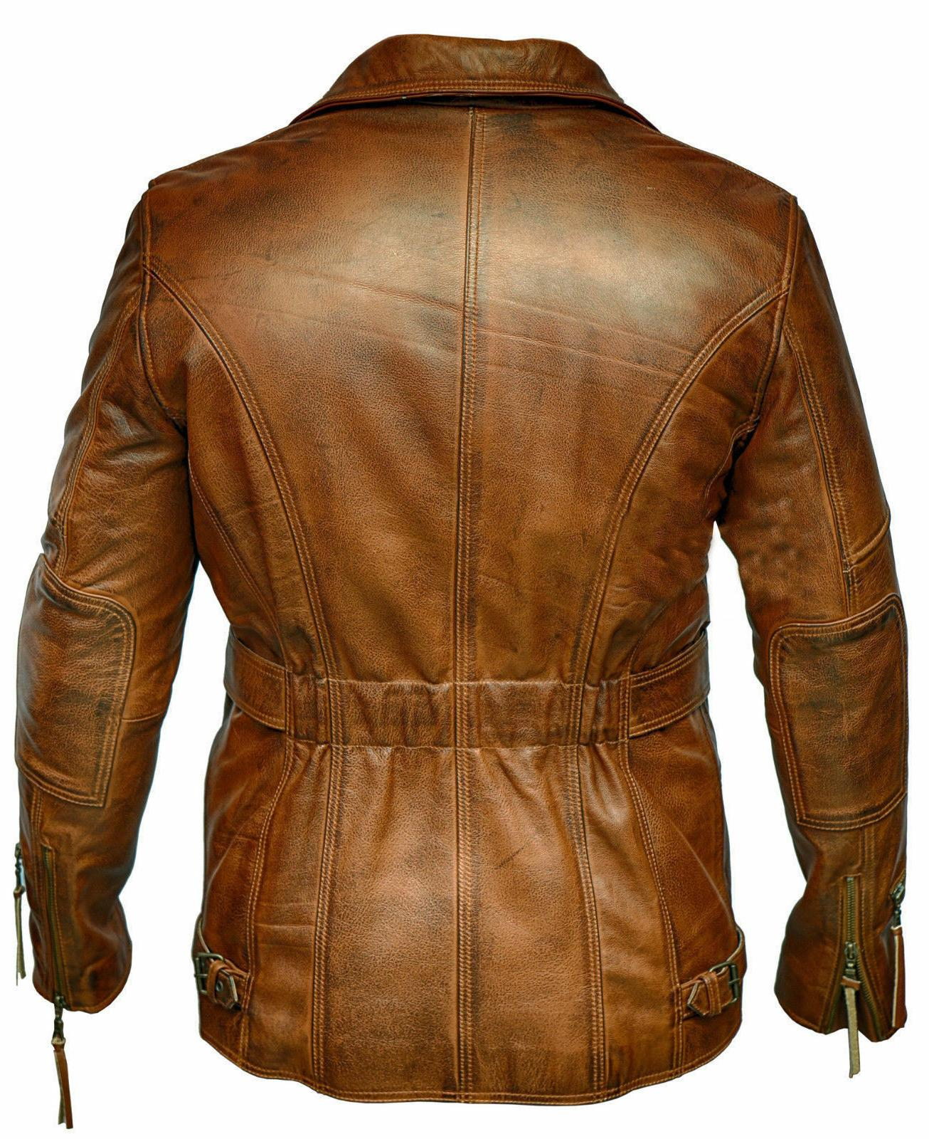 Brown leather jacket biker Trench Top