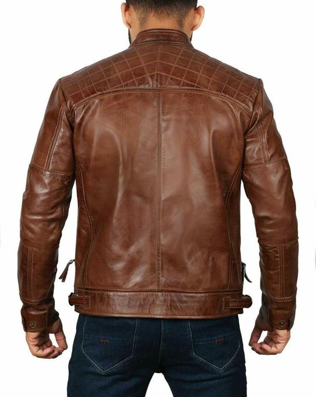 Brown Jacket For Men Distressed Motorcycle Leather