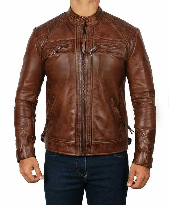 Brown Leather Men - Genuine Motorcycle Leather Jackets