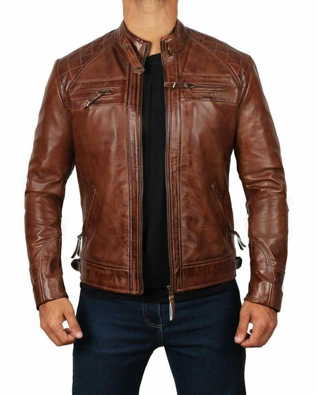 Brown Leather Jacket For Men - Motorcycle
