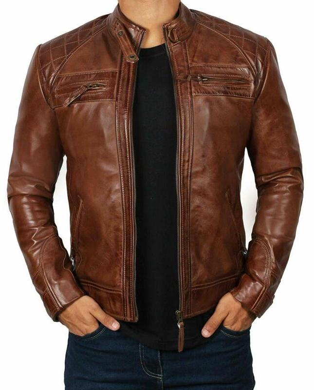brown leather jacket for men distressed genuine