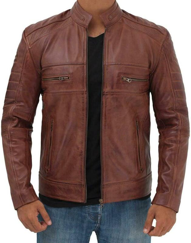 Blingsoul Brown Leather Jacket For Men - Distressed Motorcyc