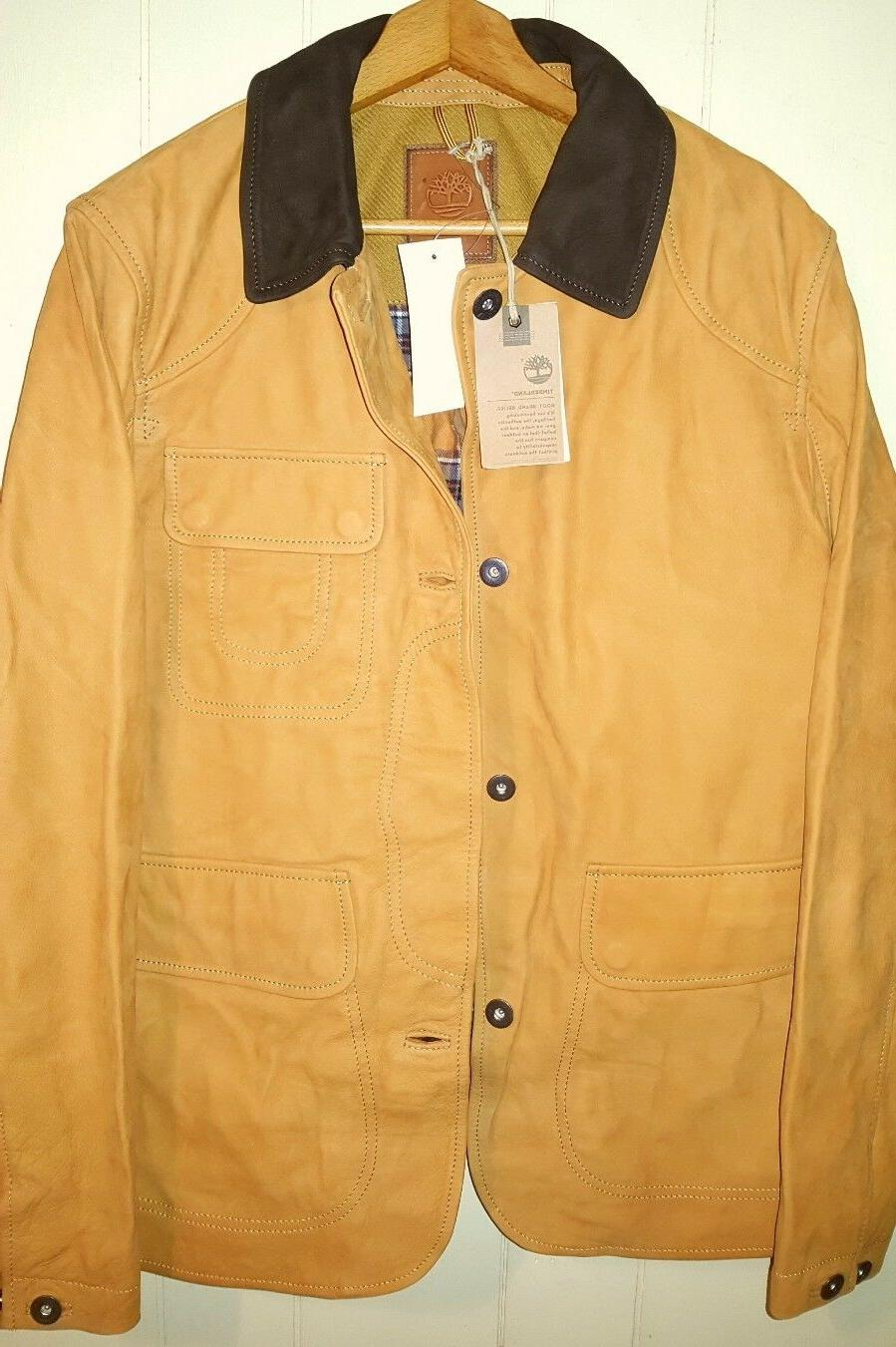 TIMBERLAND COWHIDE LEATHER BOMBER JACKET MEN SIZE XL NEW $99