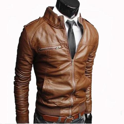 Mens Faux Slim Jacket Winter Short Outwear