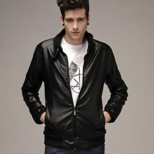 Mens Faux Slim Biker Motorcycle Jacket Winter Coat