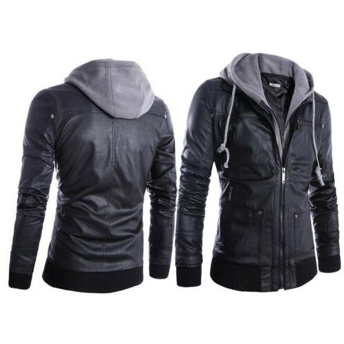 Fashion Slim Fit Hooded Men's Black Motorcycle Leather Jacket