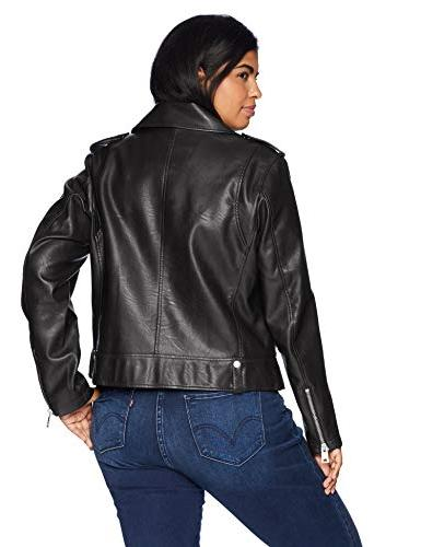 Levi's Women's Plus Faux Leather Contemporary Motorcycle Jacket, 1X