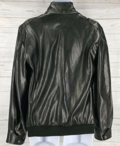 Aowofs Leather Sz Ribbed Collar Cuff Full Zip Lined