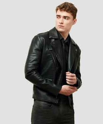 Kenneth Cole Reaction Faux Leather Men's Black Moto Jacket S