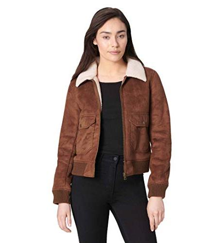 faux leather sherpa aviator bomber