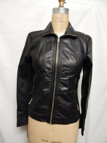 faux leather zippered cuff jacket black nwt