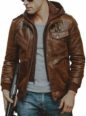 FLAVOR Men Brown Leather Motorcycle Jacket Removable Hood