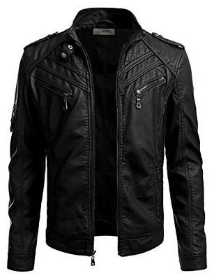 iDarbi Men's Motorcycle Rider Jacket, Premium Stand Collar F