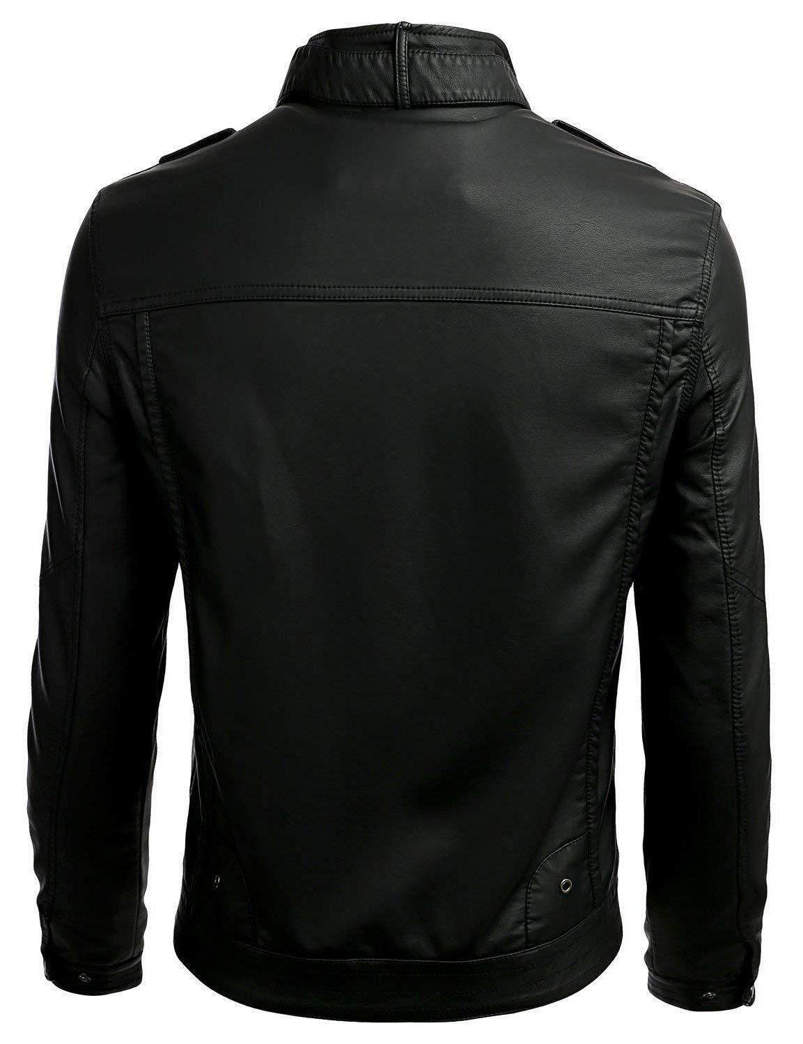 IDARBI Long Premium Stand Collar Up Leather Jacket