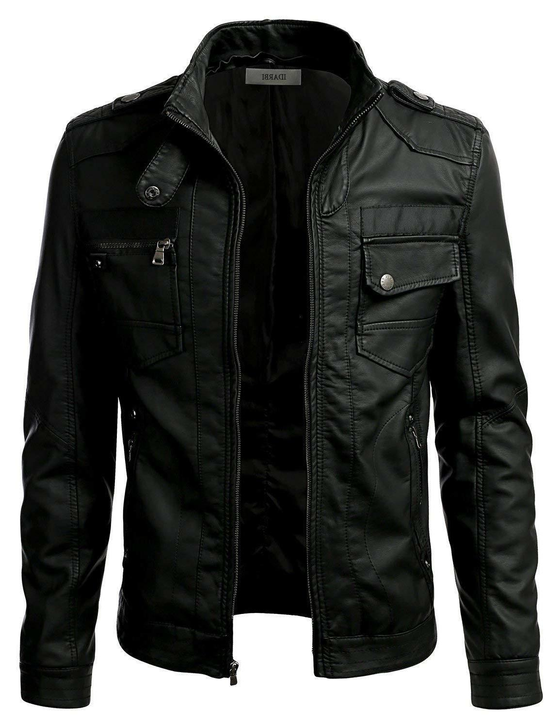 IDARBI Mens Premium Collar Zip Up Leather