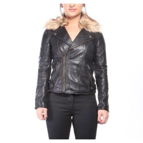 jackets fur moto jacket women black new