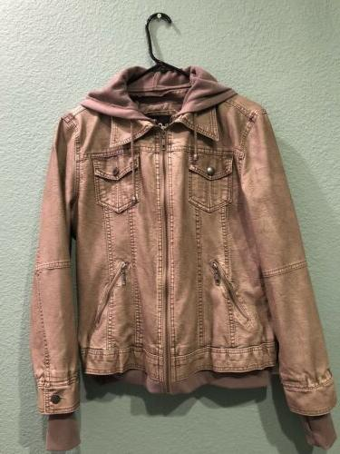 khaki charcoal faux leather hooded jacket size