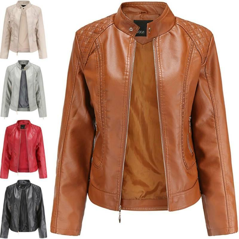 Women's Leather Jacket Coats Winter Biker Motorcycle Casual