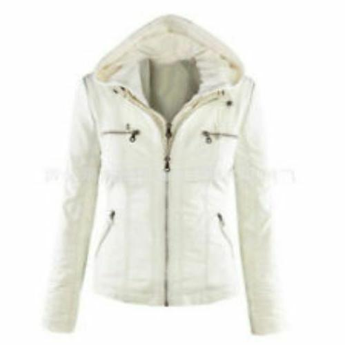 ladies faux leather jacket with detachable hood