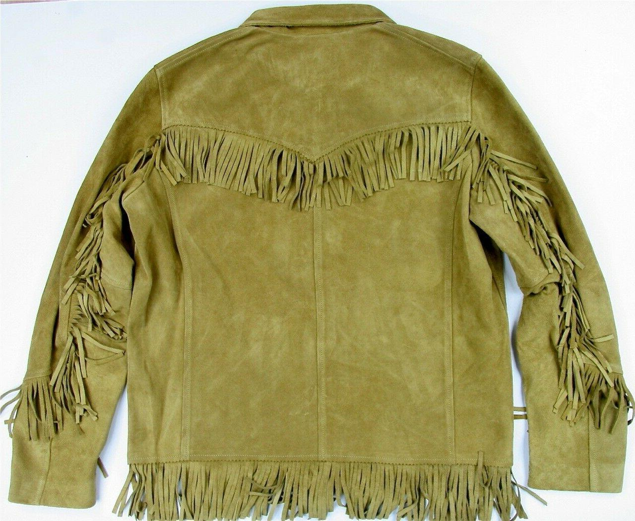 Levi's LVC Suede Leather Fringe Jacket Slim Made In Retro Style