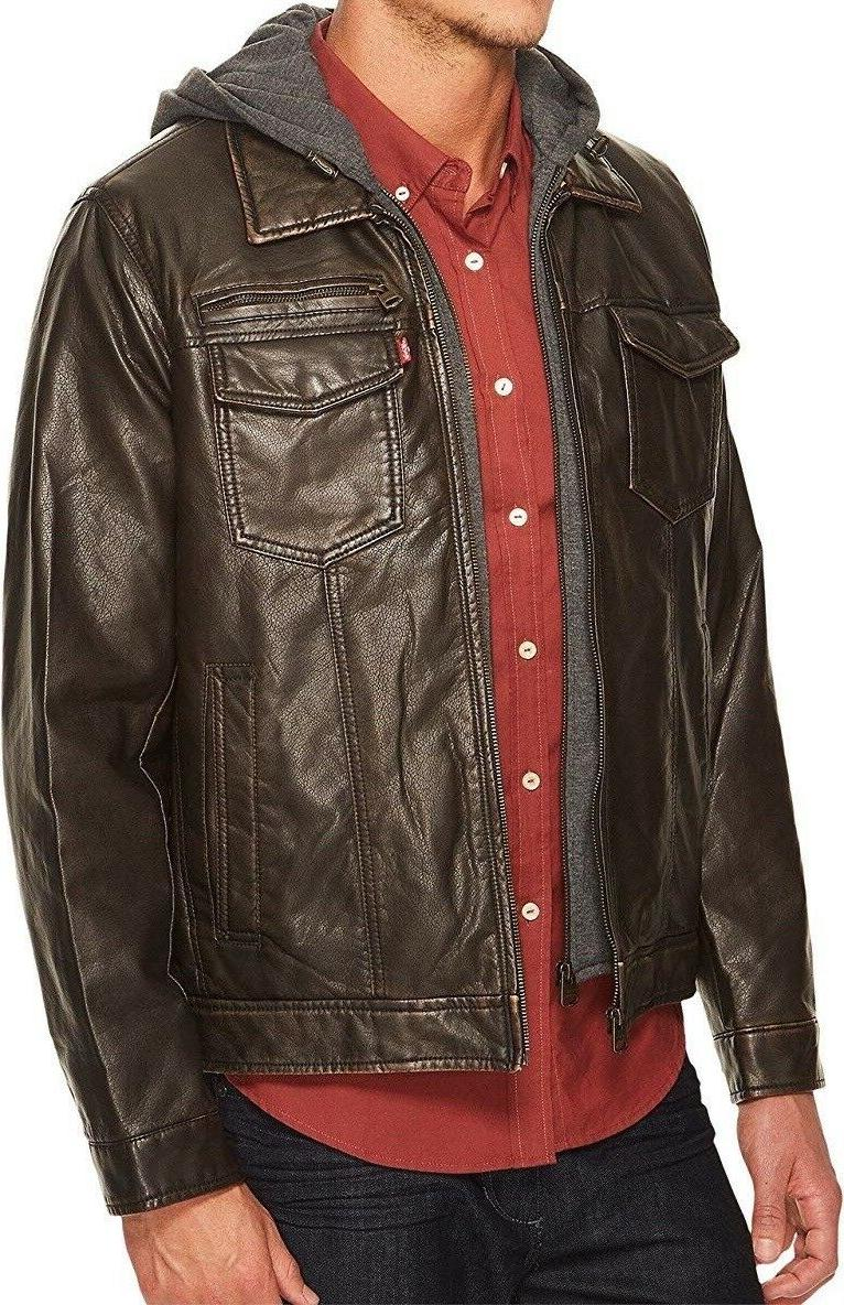 Levi's Men's Faux Leather with Jersey Hood