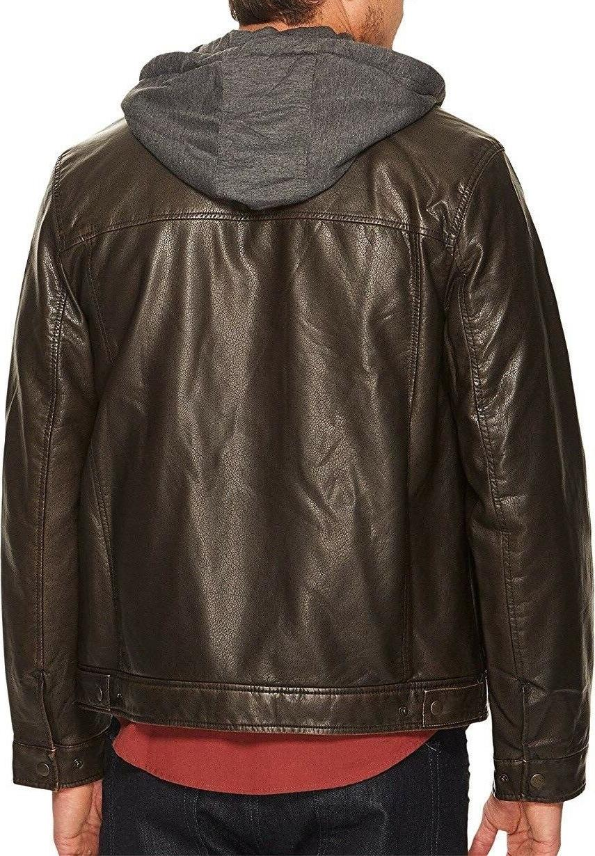 Leather Trucker with Jersey Hood