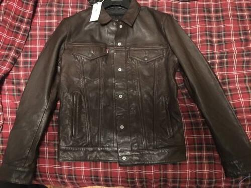 levis genuine leather trucker jacket small