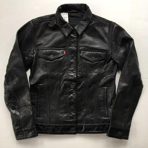 levis leather trucker jacket small