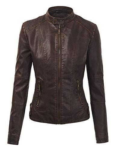 Lock Love WJC1044 Womens Faux Leather Quilted with Hoodie
