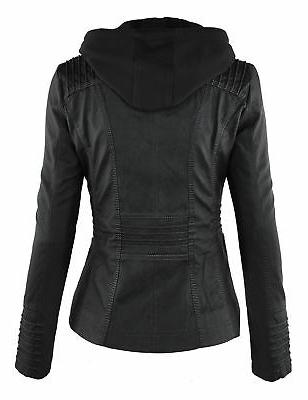 Made WJC663 Womens Hoodie Motorcyle Jacket