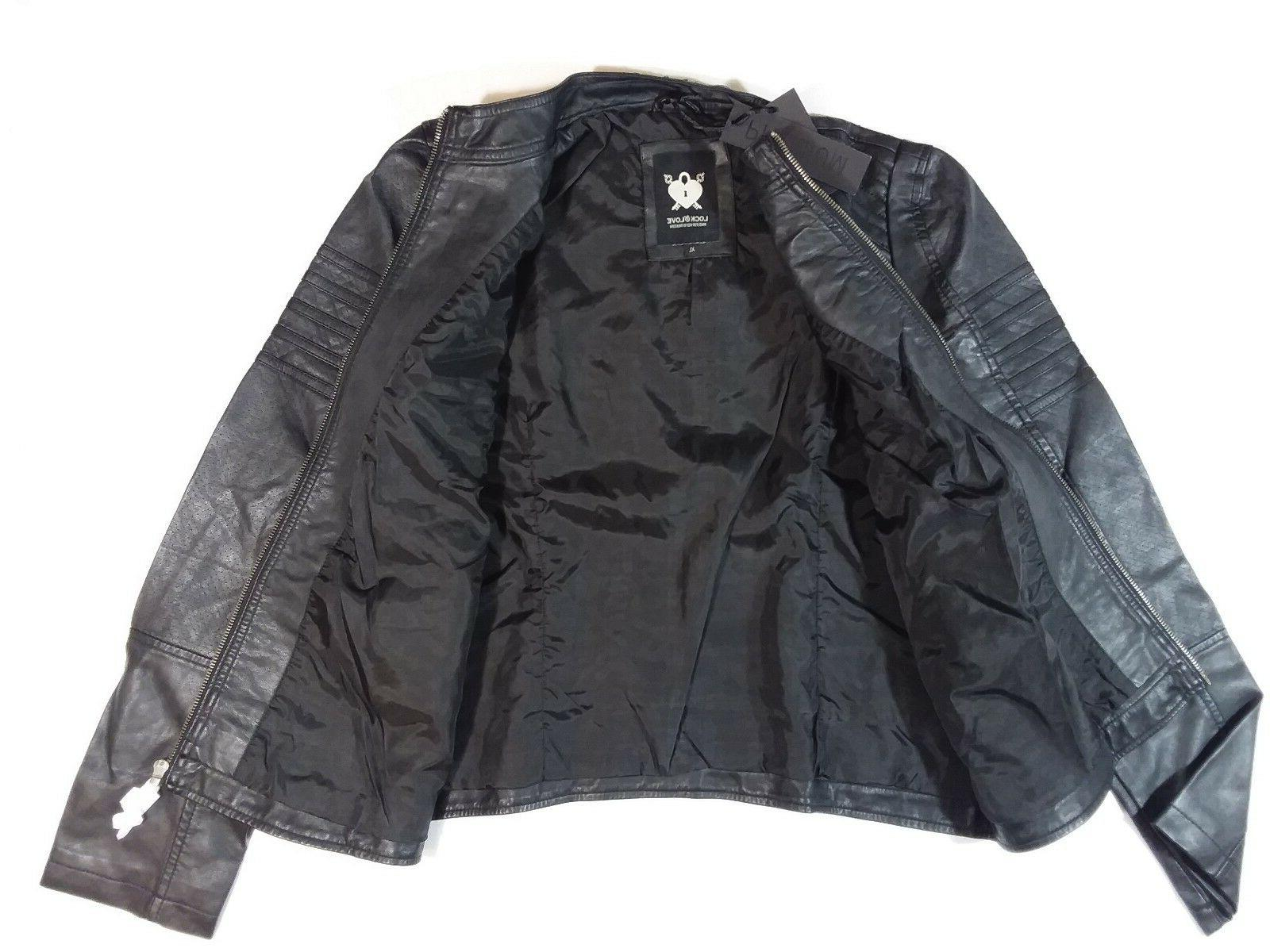 Lock Love Womens Quilted Black Leather Biker Sz XL WJC746