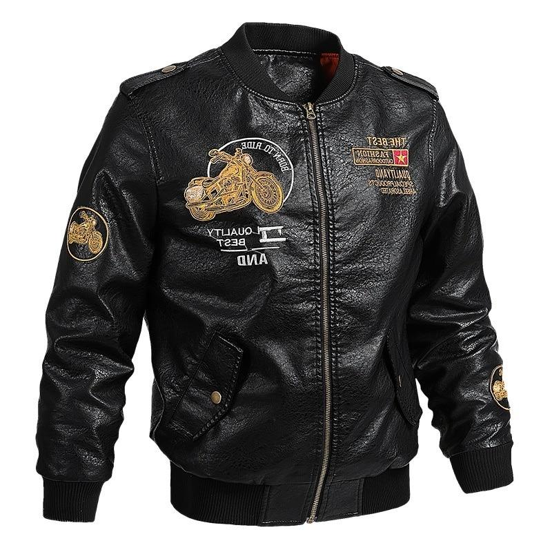 Male Leather Fit Men Collar jaqueta PU Biker <font><b>Jackets</b></font> Casual Faux Fur Fleece