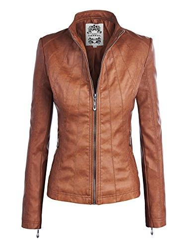wjc877 panelled faux leather moto