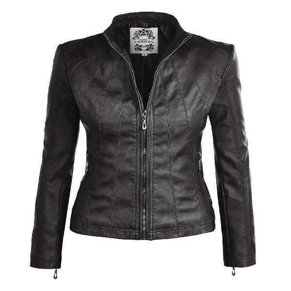 Mbj Wjc877 Womens Panelled Faux Leather Moto Jacket S Black