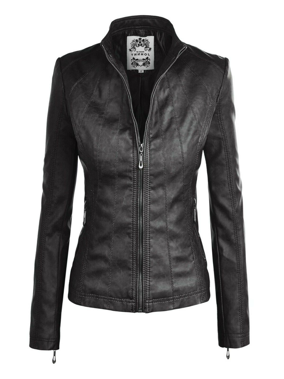 mbj wjc877 womens panelled faux leather moto