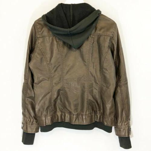 Made Womens Faux Leather Jacket with XL Khaki