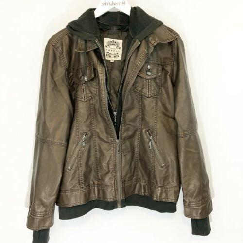 mbj womens faux leather motorcycle jacket