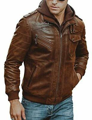 FLAVOR Leather Motorcycle Jacket with Hood